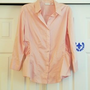 EUC NY&co pink button down blouse Sz L
